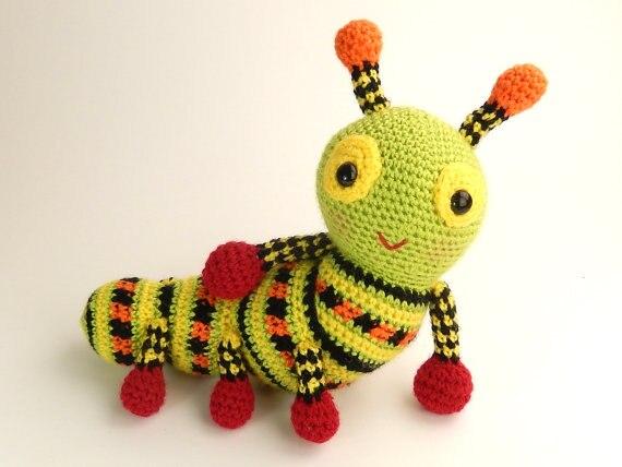 Amigurumi Caterpillar : Cute crochet animal amigurumi katie the caterpillar in baby rattles