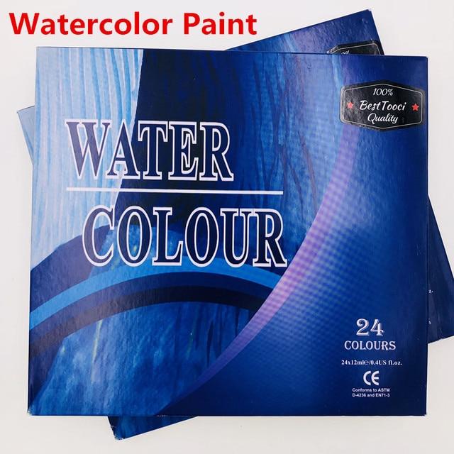 8b4e13e867d3 12ML 24 Colors Professional Brand Watercolor Paint Paper Pigment Art  Supplies Acrylic Paints Each Tube 12ML