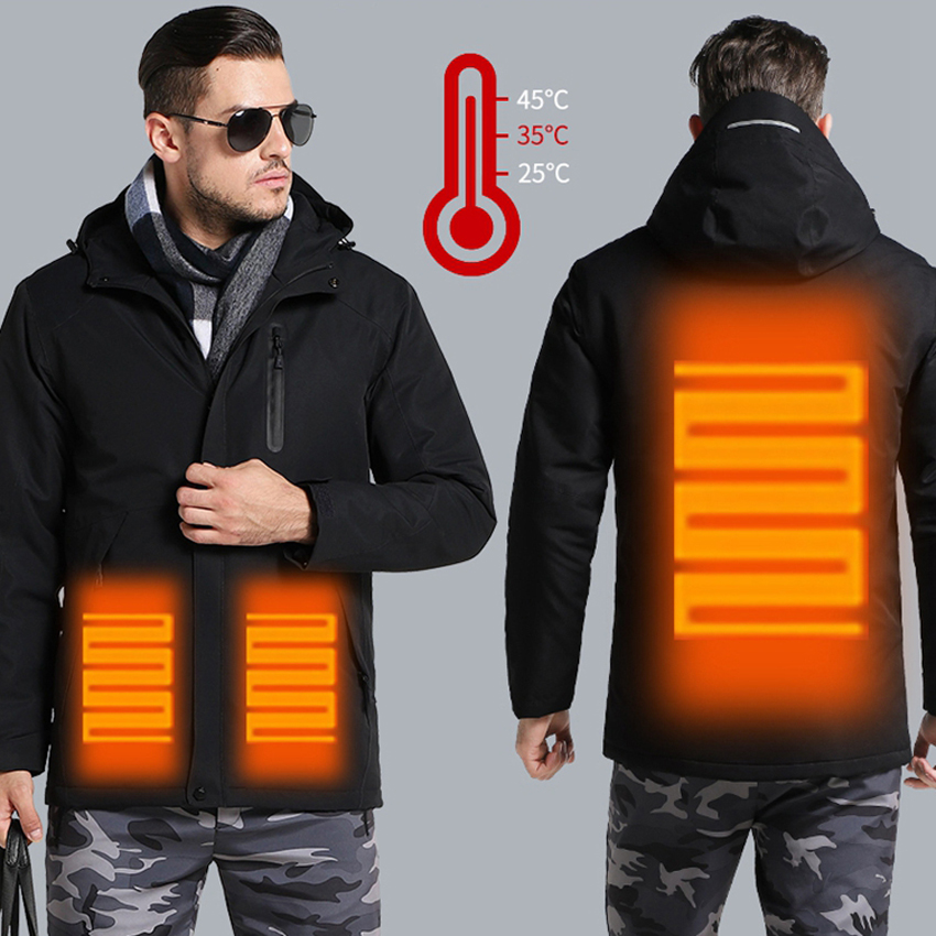 Men Winter Thick USB Heating Cotton Jacket Waterproof Windbreaker Hooded Winter Coat Men Thick Warm Mens Winter Jacket   Parka
