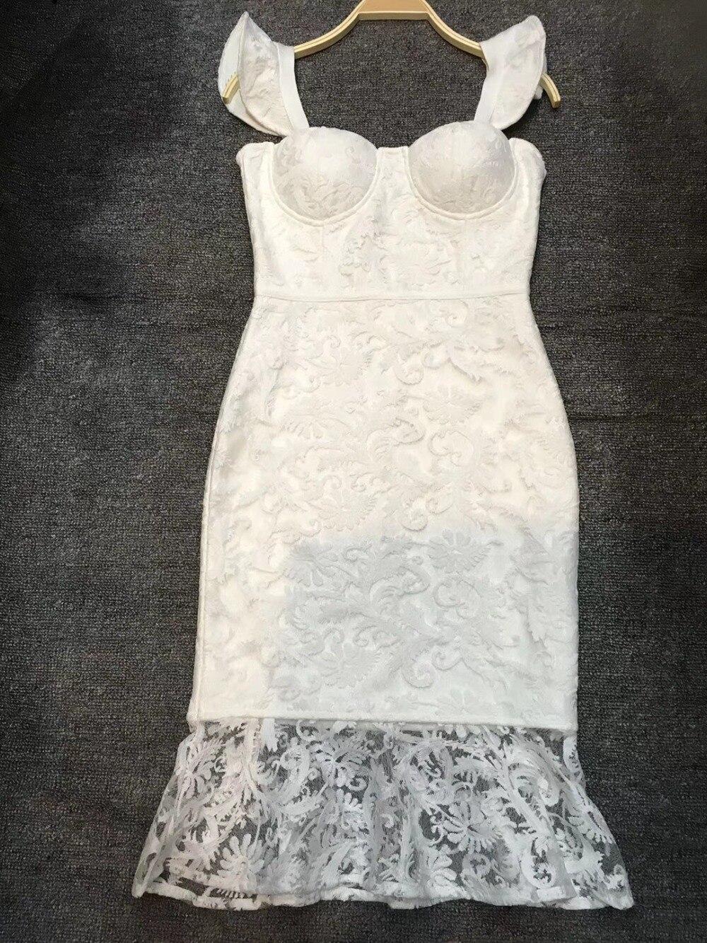 Manches Blanc Célébrité Robe Sexy Bandage Sans Femmes D'été Qualité Midi Gros De Dentelle Bretelles Mode Haute Partie n0P8OkNXw