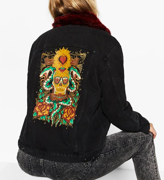 813fd64aa US $59.99  2016 Autumn Winter Fashion Black Denim Jacket with detachable  Red faux fur collar Skull Print Back Fleecy lining Front Pockets-in Basic  ...