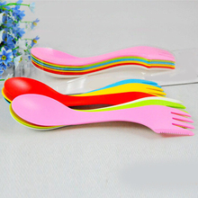 NEW 6Pcs Spoon Fork Knife Cutlery Camping Hiking Spork Combo Travel Utensils Gadget