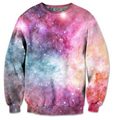 2016 Autumn/Winter 3d sweatshirts women/men pink space galaxy PASTEL NEBULA print fashion sweatshirt free shipping