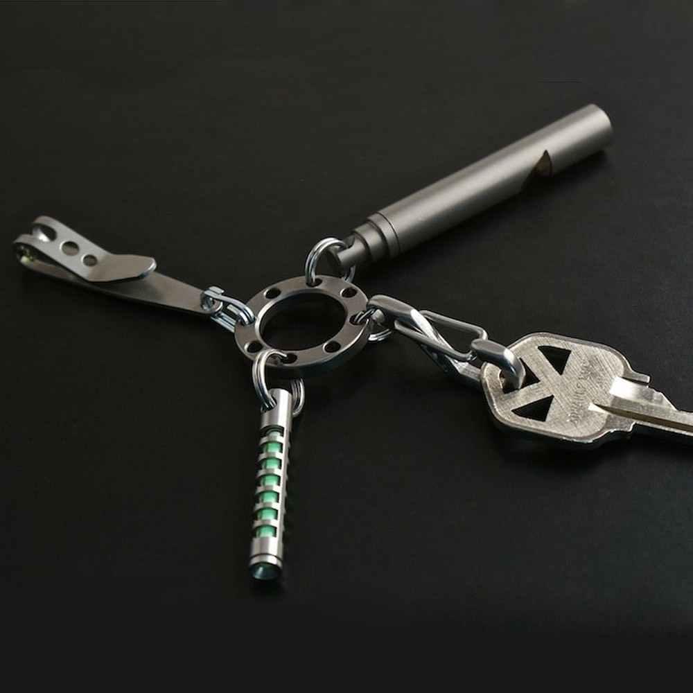 1 шт. портативный EDC портативный мини 8 отверстий цепочка для ключей Карманный Мультифункциональный инструмент брелок для кемпинга на открытом воздухе брелок с 8 мини стальными кольцами