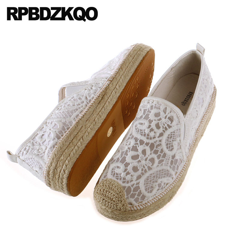 Pink White Lace Hemp Espadrilles Muffin Elevator Creepers Platform Shoes Mesh Large Size Italian Flats Women Rope Breathable
