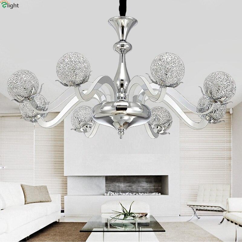 Modern Led Pendant Lamps Living Room Acrylic Fixture: Modern Lustre Chrome Metal Led Pendant Chandelier Light
