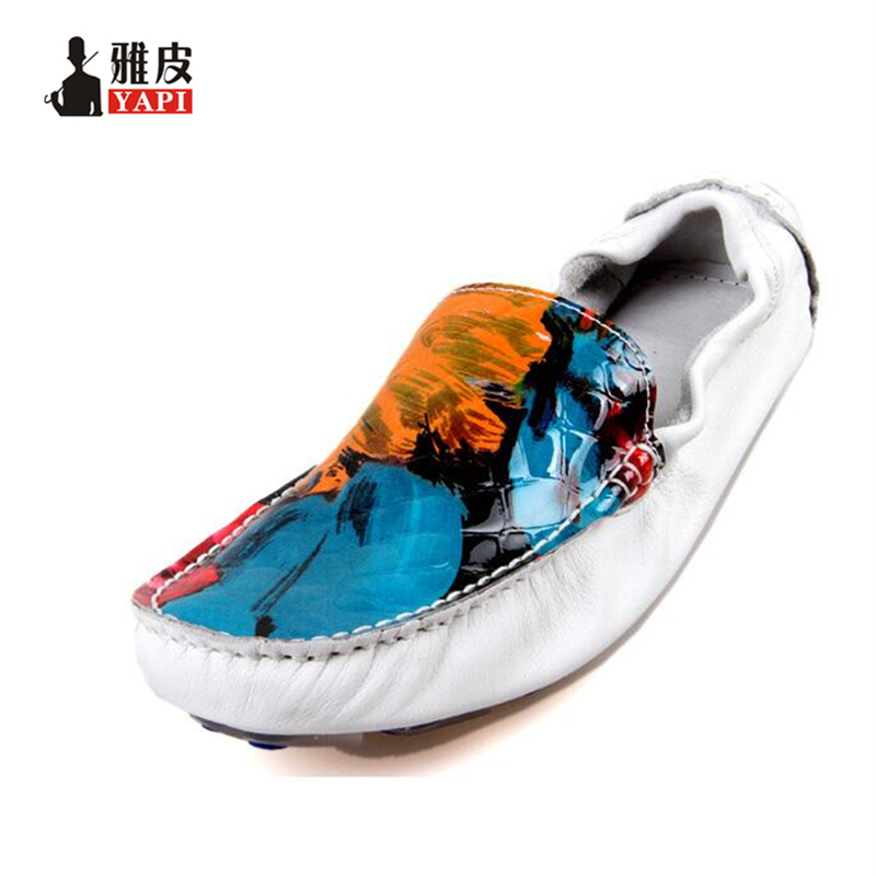 US6-10 New REAL Leather Comfort Graffiti Loafer fashion men Loafer driving car shoes slip on boat shoes jiabaisi fashion casual design leather loafer comfort men s shoes jsb170314002