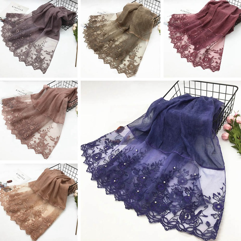 2019 Fashion Plain Embroidered Floral Viscose Shawl Scarf High Quality Lace Chain Wrap Neck Stole Muslim Hijab Snood 180*80cm