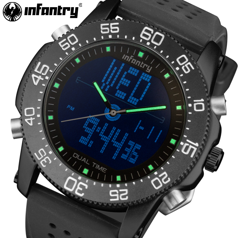 Mens Quartz Watches Waterproof Luxury Brand INFANTRY LED Digital Tactical Watch Relogio Masculino Rubber Strap <font><b>Marine</b></font> Wristwatch