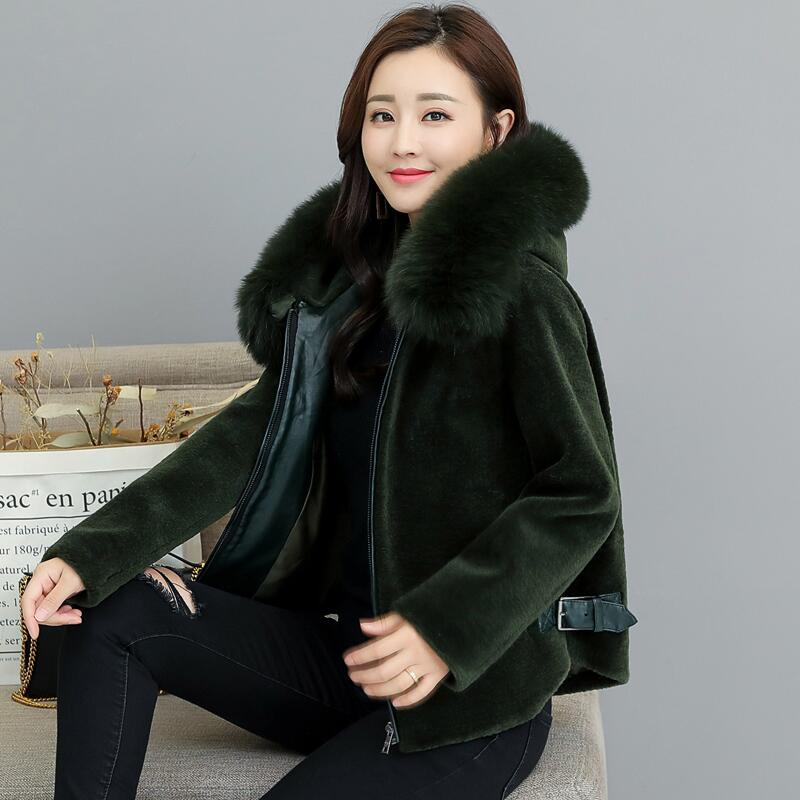 Dame Col Veste Lâche Faux Chaud red green claret white À Z496 navy black Épais violet Apricot Mode Grand Nouveau Green Parka De D'hiver Manteau Qualité Fourrure Longues Femmes Capuchon Manches Haute wnqRP8IZxE