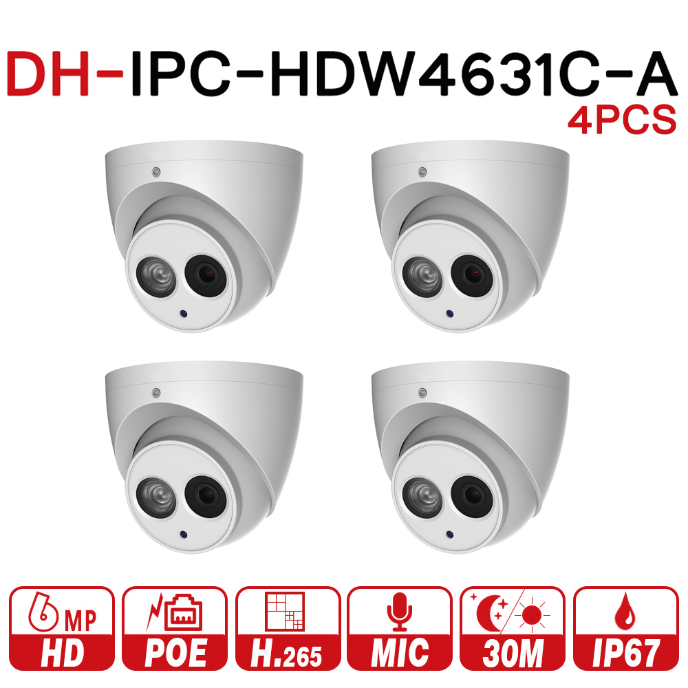 DH 6MP IP Camera IPC-HDW4631C-A Upgrade From IPC-HDW4431C-A POE Network Mini Dome Cam Built-in MIC CCTV Camera Metal 4pcs/lot цена 2017