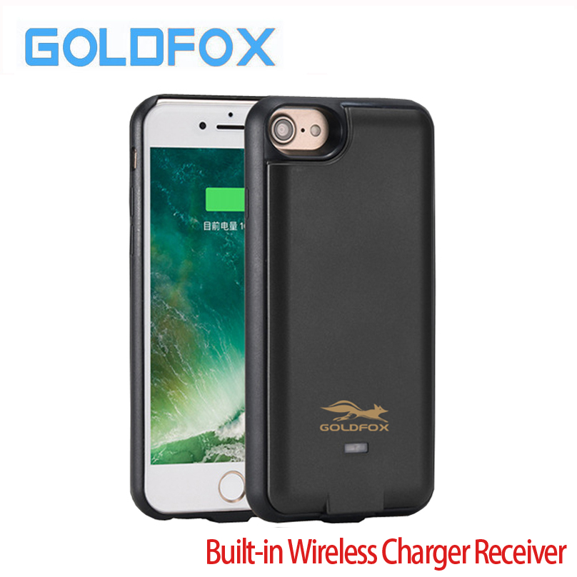 Goldfox 3000Mah/5000mah External Power Bank Cover Cases QI Wireless Charger Receiver For Iphone 6 6s 7 Plus Phone Battery Case