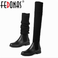 FEDONAS High Quality Genuine Leather Stretch Fabrics Elastic Boots Tube Winter Snow Shoes Women Boots Over