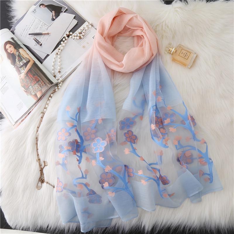 2018 silk   scarf   for women fashion Cut flowers shawl   wrap   Gradient color pashmina elegant lady winter neck   scarves   hijab bandana
