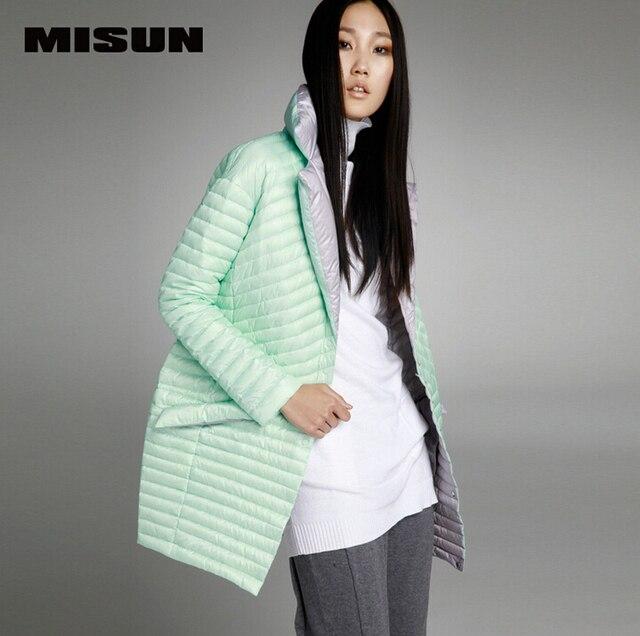 MISUN 2017 женские зимние jacketsasymmetric Длина мантии типа кокон однобортный костюм воротник легкий тонкий пуховик MIDQ-V381