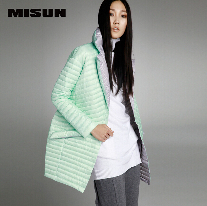 MISUN 2017 womens down jackets asymmetric length mantle type cocoon thin light single breasted long sleeve