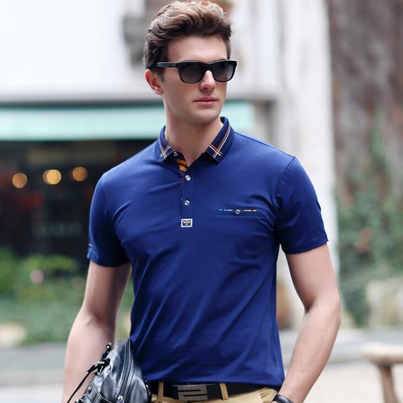 Férfi polo 2019 nyár kiváló minőségű póló márka Lycra pamut - Férfi ruházat