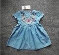 YTAP35 Розничная 2017 Новая Мода Новорожденных Девочек Платья Джинсы Вышивка Цветок Девушка Платье Принцессы Девушки Одежда