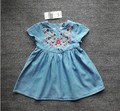 YTAP35 Retail 2017 New Fashion Baby Girls Dresses Jeans Embroidery Flower Girl Dress Princess Girl Clothes