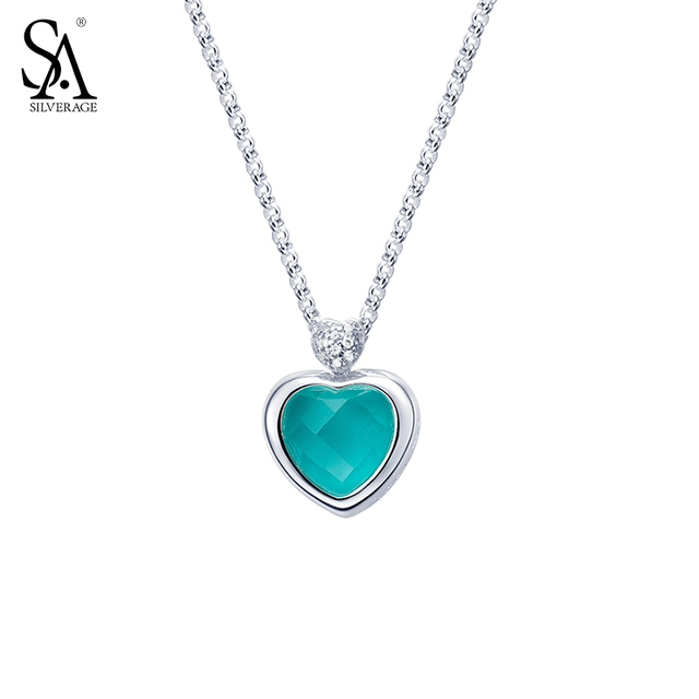 Sa silverage real 925 sterling silver heart necklaces for women fine sa silverage real 925 sterling silver heart necklaces for women fine jewelry blue aquamarine stone love aloadofball Image collections