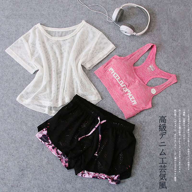 Sportswear three Piece Yoga Set Girls Gymnasium Material Sport Go well with Shirt High+Bra+Shorts Feminine Exercise Athletic Working Health Clothes Yoga Units, Low cost Yoga Units, Sportswear three Piece...