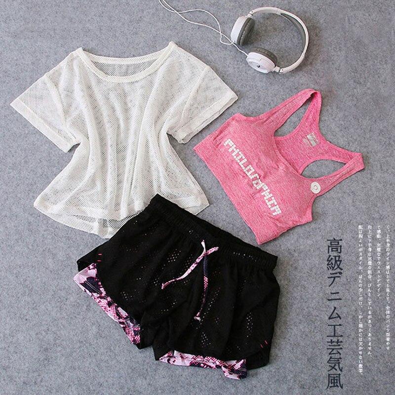 <+>  Спортивная одежда 3 шт. Yoga Set Женщины Тренажерный зал Ткань Спортивный костюм рубашка Топ + бюстг ①