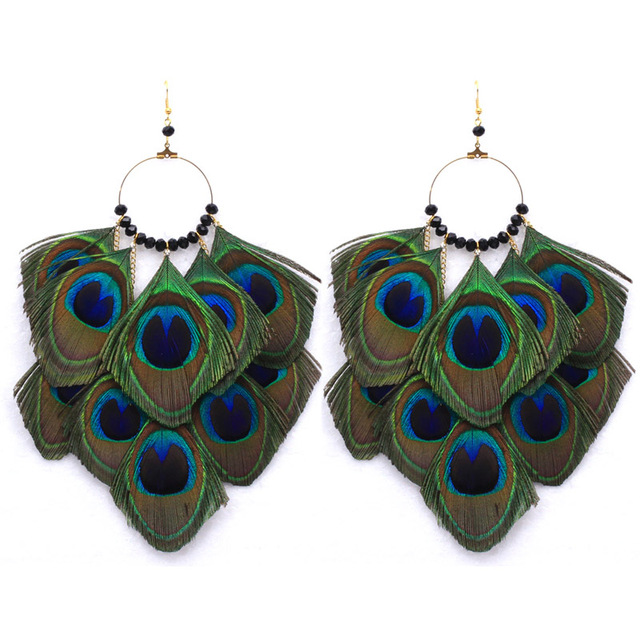 Fashion peacock feather earrings Ethnic Style Long Eardrop Dangle Earrings  Long big round Earrings Jewelry for c48f06e9a7fa