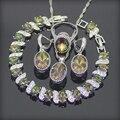 Moda Magic Rainbow Criado Topázio Esterlina 925 Conjuntos de Jóias de Prata Para As Mulheres Brincos/Pingente/Colar/Anéis/pulseiras Caixa Livre
