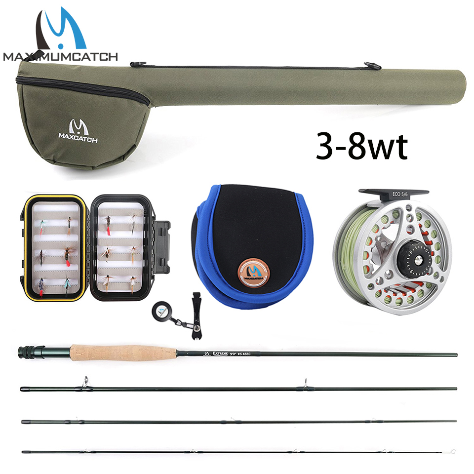 Maximumcatch 5WT Fly Fishing Combo 9FT Medium-schnelle Fly Stange Pre-gespoolt Fly Reel 5F Fly Linie Mit cordura Dreieck Rohr