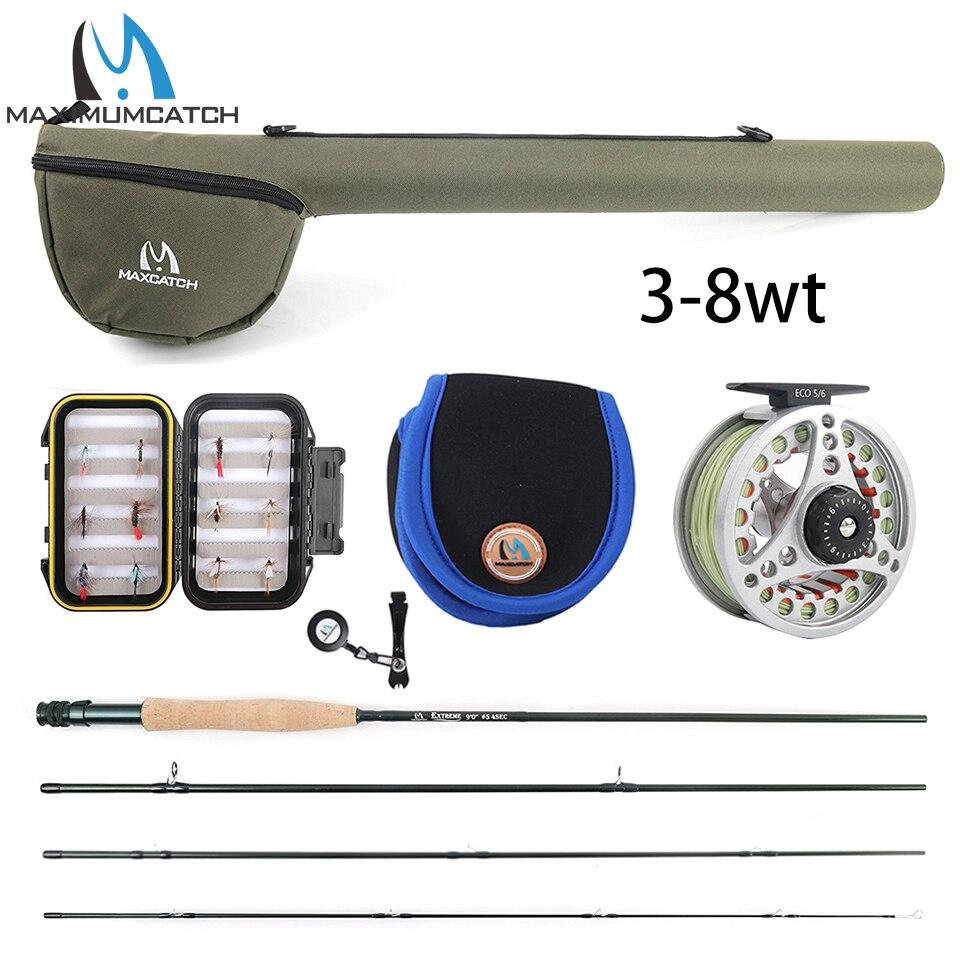 Maximumcatch 5WT pêche à la mouche Combo 9FT canne à mouche moyenne-rapide pré-bobine mouche bobine 5F ligne de mouche avec Tube Triangle Cordura