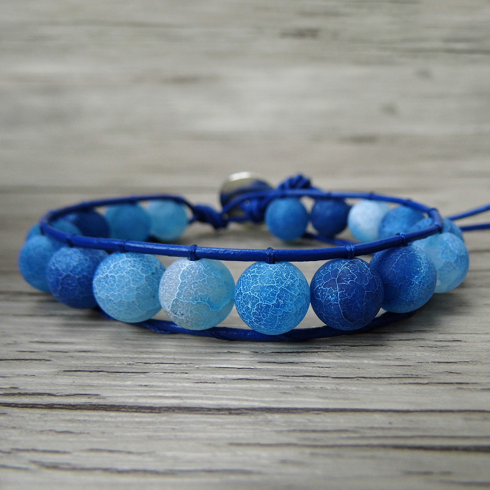 Blue matt beads bracelet matt finish beads bracelet boho wrap leather bracelet beaded jewelry bohemian yoga wraps