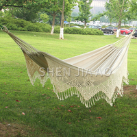 Outdoor Multi person Hammock Cotton Hammock With Tassel White Swing Bed Hand woven Outdoor Swing Bed 1PC