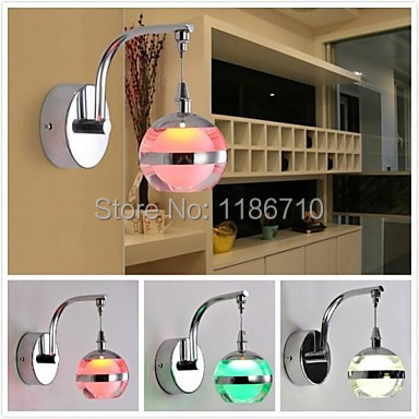 wall lamp 3W LED Creative Round Wall Lights; Variety of Colors (AC85 ~ 265V) Free shippingwall lamp 3W LED Creative Round Wall Lights; Variety of Colors (AC85 ~ 265V) Free shipping