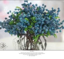penjualan panas buah Blueberry dekoratif berry bunga buatan sutra bunga buah-buahan untuk pernikahan dekorasi rumah tanaman buatan