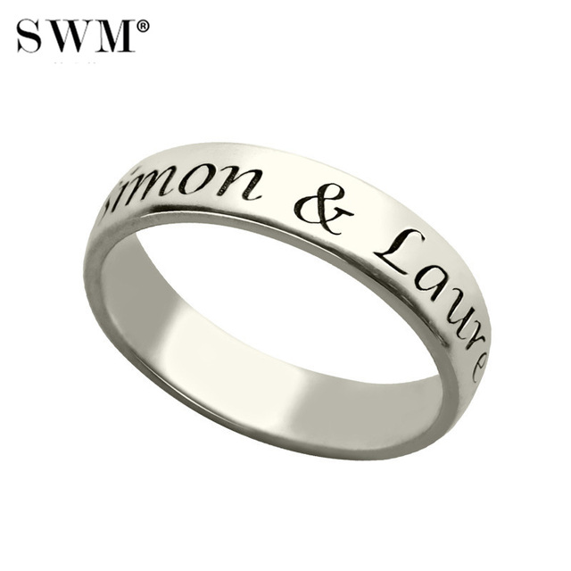 Costume Letter Rings for Women Engagement Promise Ring 925 Sterling Silver Custom Name Wedding Promise Ring Gift for Couple Men