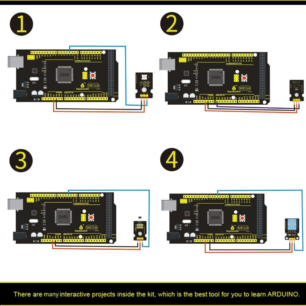 Livraison gratuite! nouveau Kit de démarrage de capteur (Mega 2560 + Shield V1) pour projet Arduino avec boîte-cadeau + capteurs (30 pièces) + PDF (en ligne) - 4
