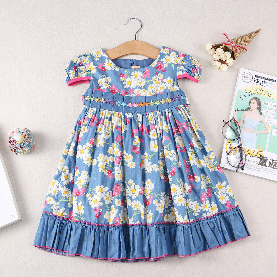 Children summer wear baby dress girls flower dress made of for Childrens dress fabric