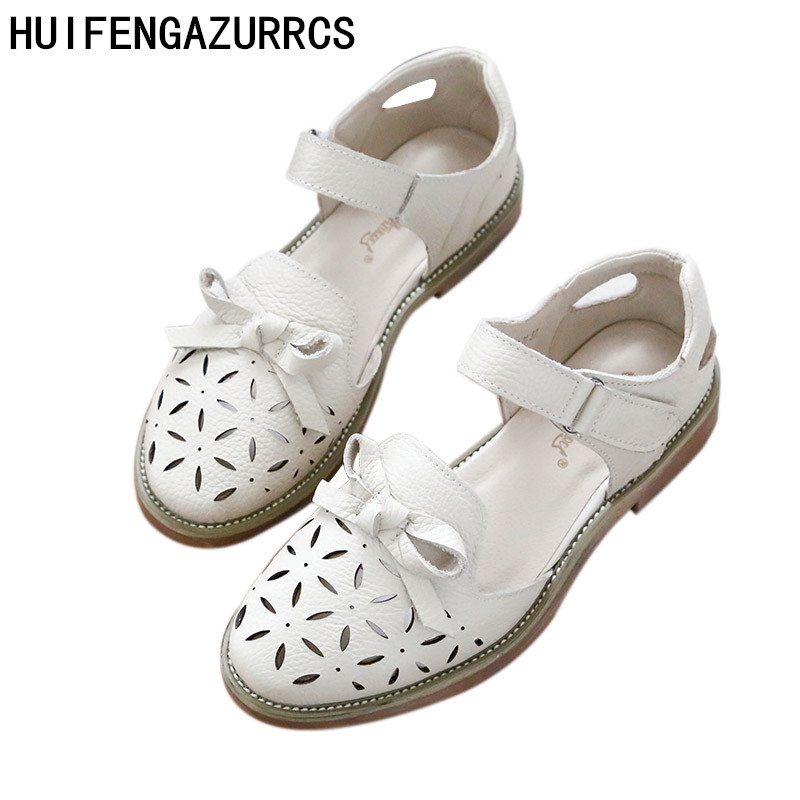 HUIFENGAZURRCS-Japanese women's Genuine Leather pure handmade sandals, low heel comfortable the retro art mori girl shoes,2color huifengazurrcs 2018 new spring mori girl soft bottom leisure shoes genuine leather handmade shoes japanese retro shoes 4 colors