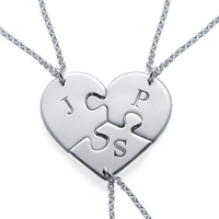 Wholesale Set Of 3 Puzzle Necklace Stamp Initial Sterling Silver Personalzied Name Pendent Engraved Letter Family