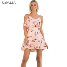 ROPALIA Women Print Strap Summer Dress Female Sleeveless Beach Short Dresses 2018 New Holiday Club Casual Mini Vestidos Pink(China)