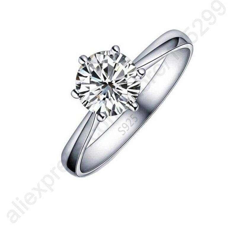 2389581741d3 Hot One PC clásico Real puro 925 plata esterlina joyas de cristal cúbicos  Zirconia CZ 6 garras anillos de dedo de las mujeres agradable regalo