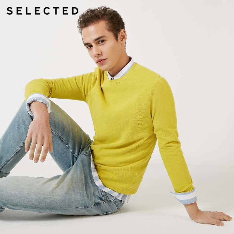 SELECTED Men's 100% Cotton Round Neckline Long-sleeved Knit S|419124548