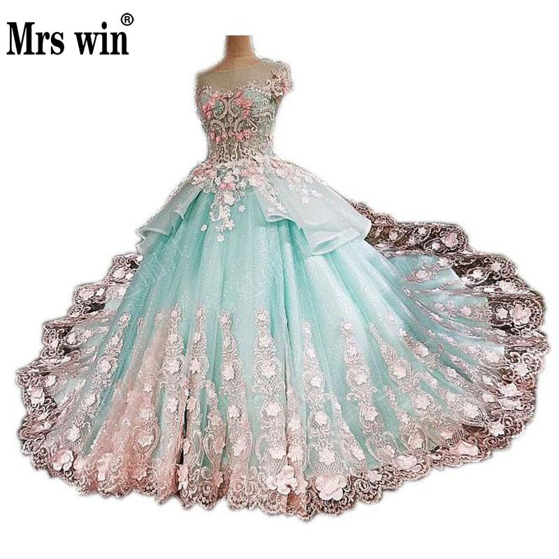 Wedding Dress 2017 The Colorful High end Dress Short Sleeve O neck Luxury Embroidery Long Sweep Train Candy Color Ball Gown F-in Wedding Dresses from ...