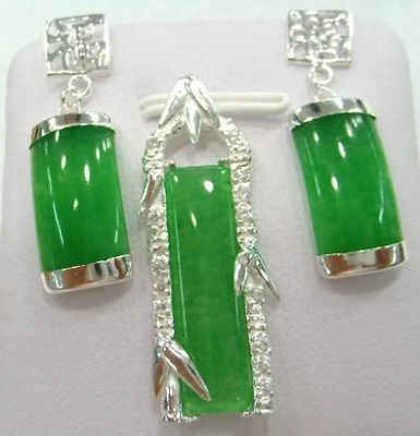 free shipping>>> Wonderful silver green Natural stone Chalcedony pendant earrings sets>^^1> watch Quartz CZ crystal