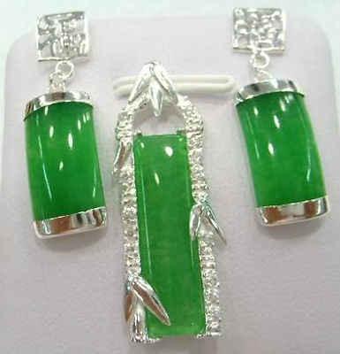 จัดส่งฟรี>>>ยอดเยี่ยมเงินสีเขียวหินธรรมชาติโมราจี้ต่างหูชุด>^^ 1>นาฬิกาควอตซ์CZคริสตัล