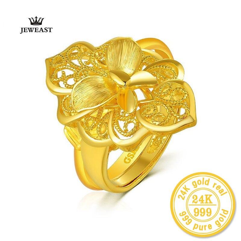 XXX ZZZ JUDAICO 2017 New hot Lovers 24 k pure Ouro Amarelo com Decoração de Flores Charme & Moda Jóias Finas para o Casamento