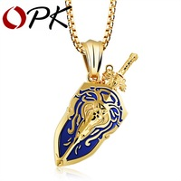 OPK Punk Sword Shield Lion Pendant Necklace Gold Plated Black Blue Home Boy Collection Jewelry For