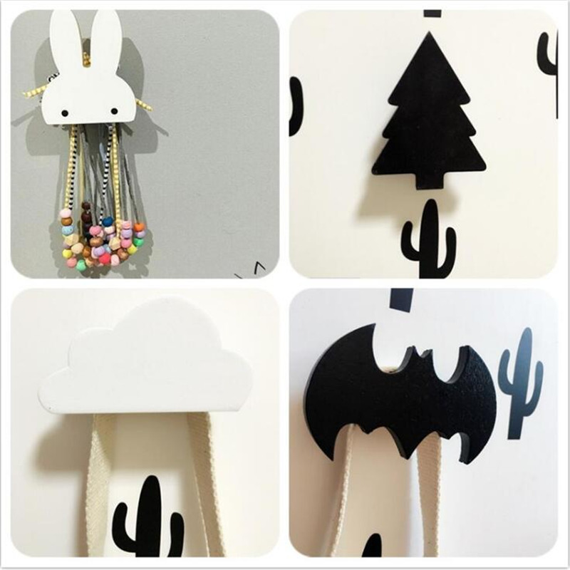 Baby Child Kids Room Wooden Wall Hooks Decorative Door Holder Hanger Organizer For Kitchen Key Clothes Store Flamingo Bat Cactus