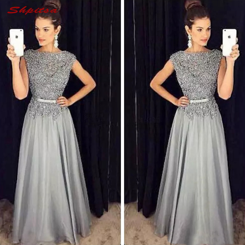 Long Silver Grey Lace Mother Of The Bride Dresses For Weddings Plus Size Evening Gowns Groom Godmother 2018