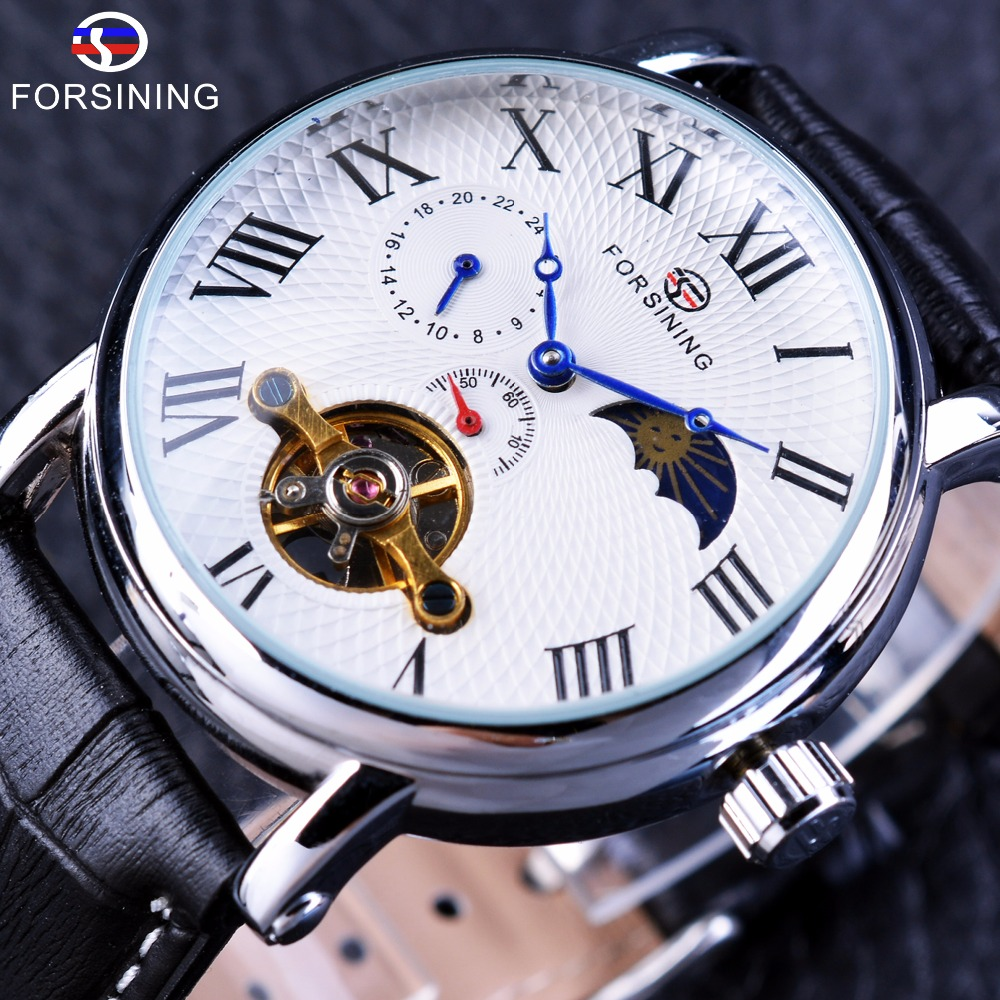 Forsining Vacation Series Small Second Hand Tourbillion Genuine Leather Mens Mechanical Watches Top Brand Luxury Automatic Watch цена